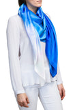 silk scarf: Grace in sky blue