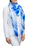 silk scarf: Walking in the Rain in blue