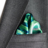 silk pocket square in green colour