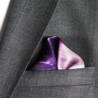 silk pocket square: Beyond The End in purple