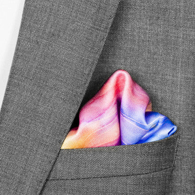 silk pocket square: Blue Serenity in turquoise