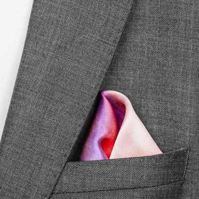 silk pocket square: Iris in blush pink