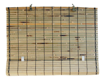 Natural Bamboo Slat Tortoise Shell Cordless Roll Up Window Blind