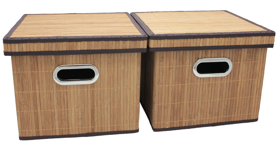Bamboo Slat Foldable File Cabinet Storage Box Organizer Hanging File Folder with Lid [2 Pack, Letter Size]