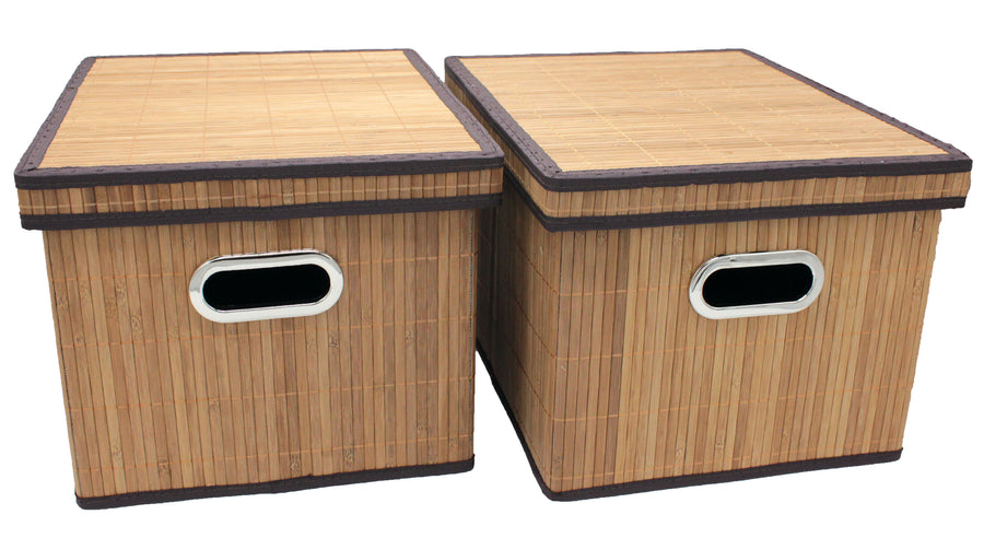 Bamboo Slat Foldable File Cabinet Storage Box Shelf Organizer Hanging File Folder with Lid [2 Pack, Letter/Legal Size]