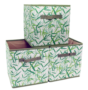 Green Leaves Patterned Canvas Foldable Cube Storage Bin Shelf Organizer [3 Pack]