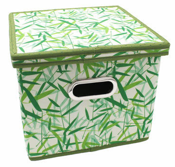Green Leaves Patterned Canvas Foldable File Cabinet Storage Box Shelf Organizer Hanging File Folder with Lid [2 Pack, Letter Size]