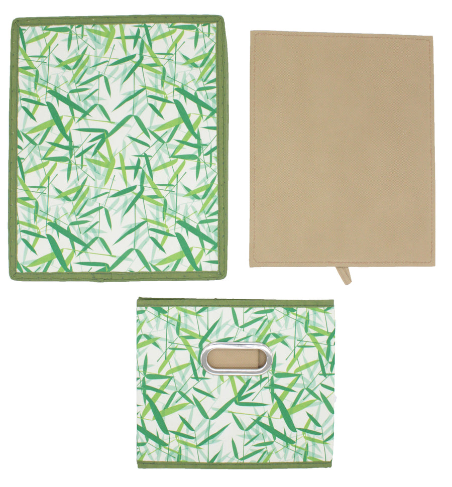 Green Leaves Patterned Canvas Foldable File Cabinet Storage Box Shelf Organizer Hanging File Folder with Lid [2 Pack, Letter/Legal Size]