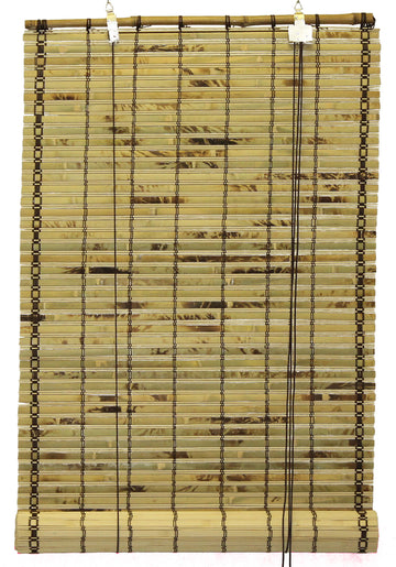 Natural Bamboo Slat Tortoise Shell Roll Up Window Blind