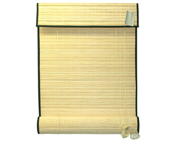 Natural Bamboo Slat Roll Up Blind with Valance and Black Border