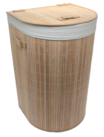 Foldable Bamboo Half-Moon Corner Laundry Hamper with Lid and Removable Cloth Liner