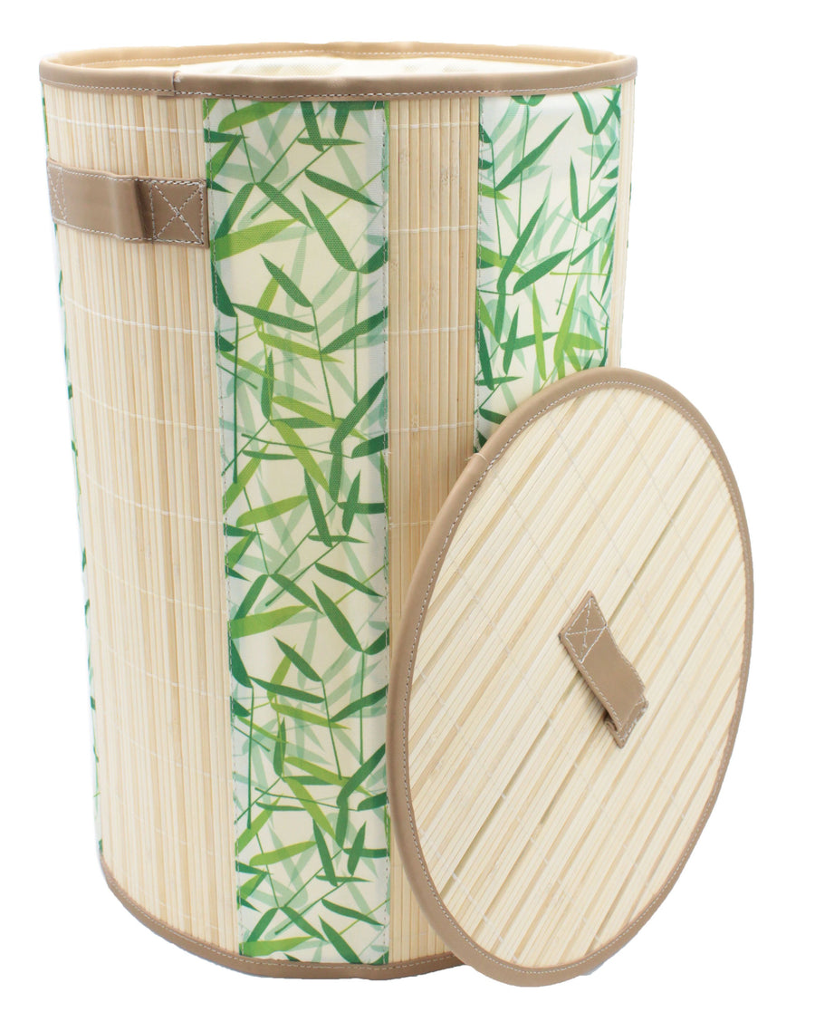 Foldable Bamboo Round Green Leaves Canvas Laundry Hamper with Lid