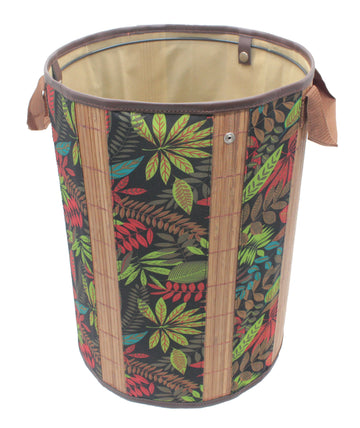 Foldable Brown Bamboo Round Storage Laundry Hamper with Handle