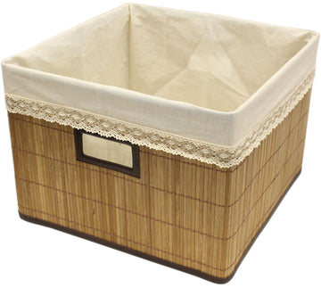 Brown Natural Bamboo Square Storage Bin Container with Cloth Liner [3 Pack]