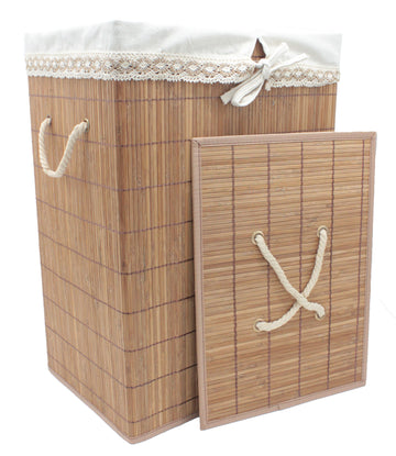 Foldable Bamboo Rectangular Laundry Hamper with Lid and Removable Cloth Liner