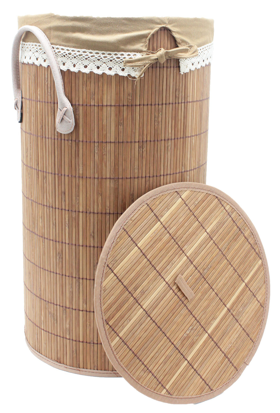 Foldable Bamboo Round Laundry Hamper with Lid and Removable Cloth Liner