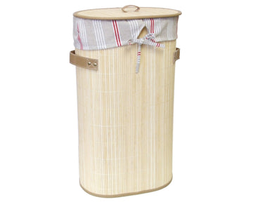 Foldable Bamboo Oval Laundry Hamper with Lid and Removable Cloth Liner