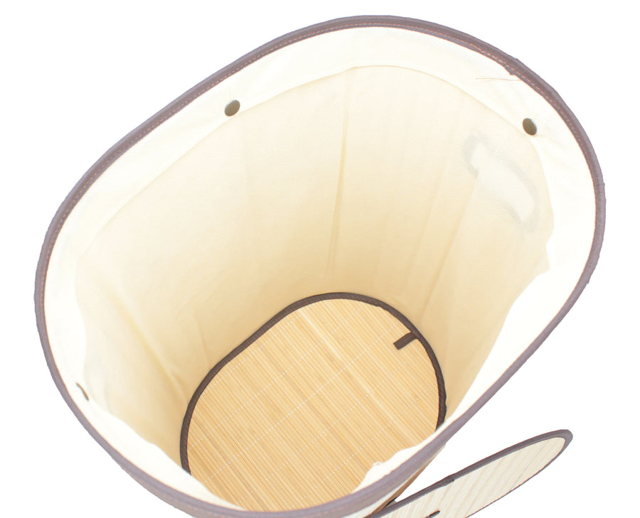 Foldable Bamboo Oval Laundry Hamper with Lid