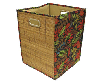 Foldable Brown Bamboo Square Storage Laundry Hamper with Handle