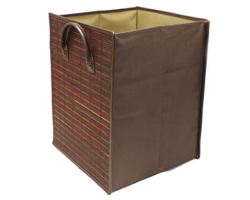 Foldable Square Burgundy Stained Bamboo Storage Laundry Hamper with Handle