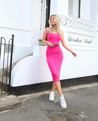 sustainable pink dress by megan ismay