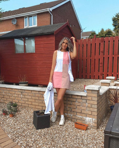 pink patchwork mini dress. Sustainable clothing from Megan Ismay