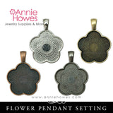 Puffy Glass & Pendant Tray Necklace Kit - 1 Inch Flower Puffy