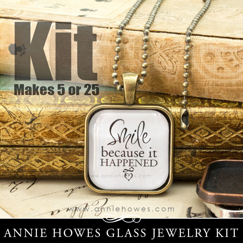Puffy Glass & Pendant Tray Necklace Kit - 1 Inch Square Puffy
