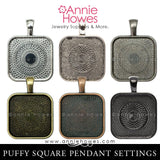 "1 inch Square Pendant Trays with Round Corners ""Puffy"" 6 Color Options (25mm)"