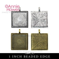 1 inch Square Pendant Trays with Beaded Edge (25mm)
