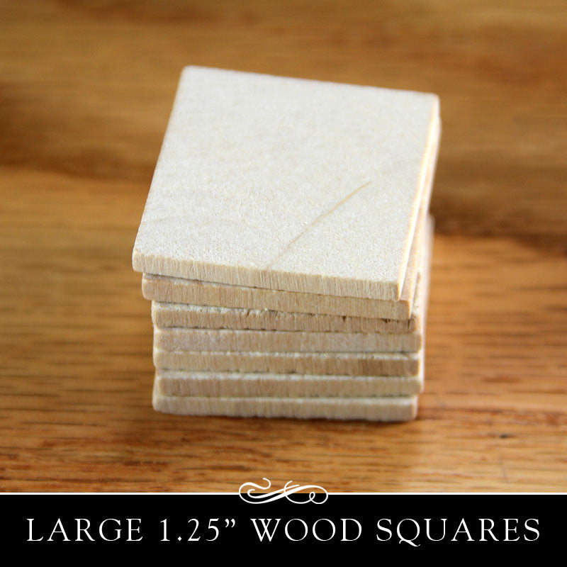 Wooden Square Cut Out (flat) - 1-1/4 Inch x 1/8 Inch