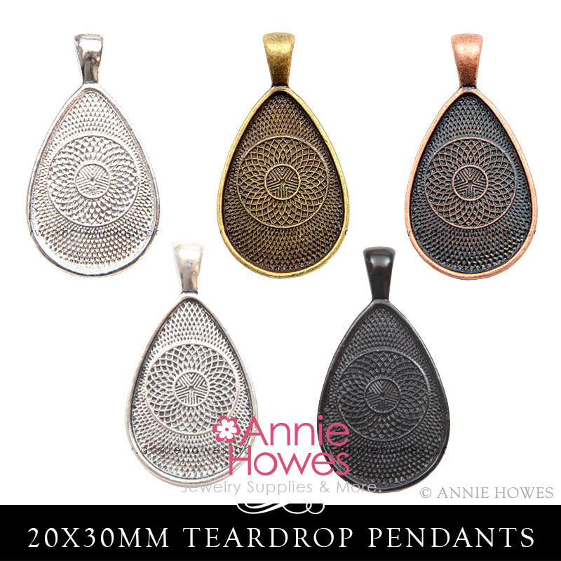 Teardrop Pendant Tray Settings 5 Color Options 20x30