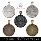 Glass & Pendant Tray Necklace Kit - 1 Inch Circle