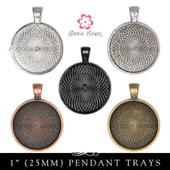 1 inch Circle Pendant Trays 5 Color Options (25mm)