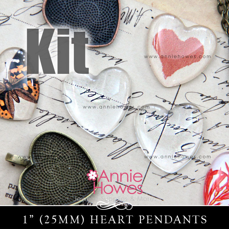 Puffy Heart Glass & Pendant Tray Necklace Kit - 1 Inch Heart Shaped Puffy