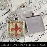 1 inch Square Pendant Trays 5 Color Options (25mm)