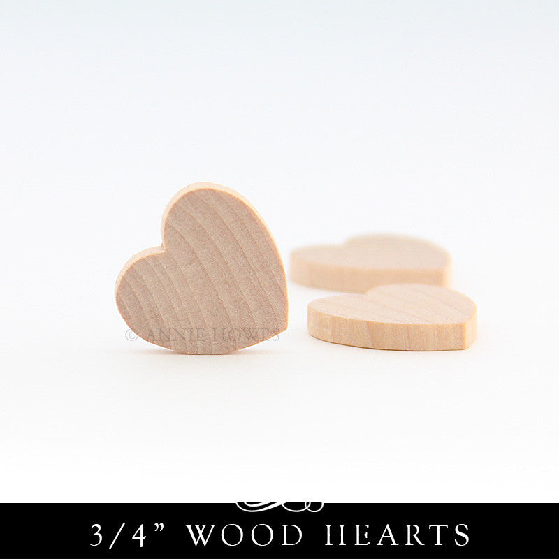 Wooden Heart Cut Outs - 3/4 Inch x 1/8 Inch
