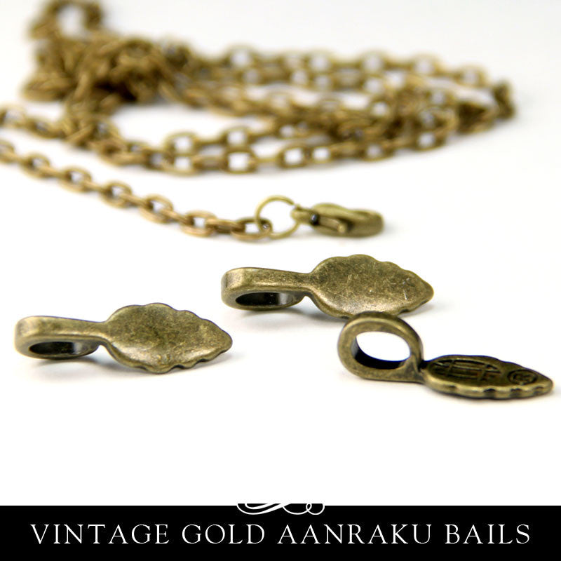 Vintage Gold Bails Small Leaf Shape - Aanraku