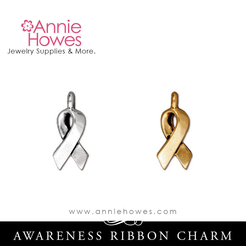 Awareness Ribbon Charm. TierraCast.