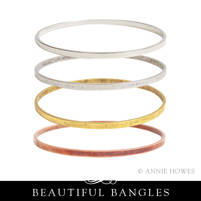 Stacking Bangle Bracelet. Large Flat. Nunn Design.