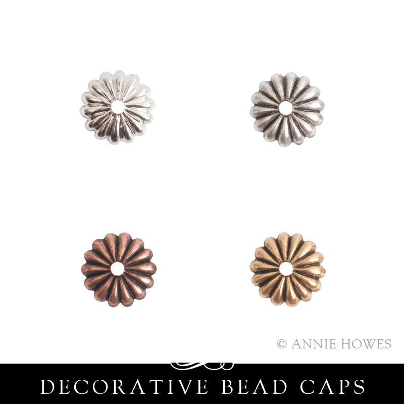 Bead Cap 12mm Petal. 10 pack. Nunn Design.