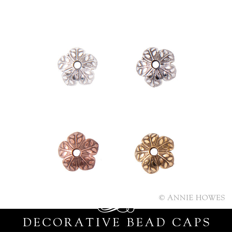 Bead Cap 8mm Etched Daisy - 10 pack. Nunn Design