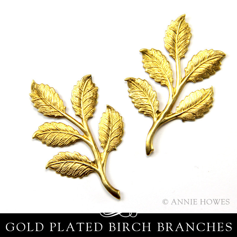 Brass Branch with Birch Leaves Embellishment. Nunn Design