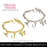 Western Horse Themed Charm Bracelet. Silver or Gold.