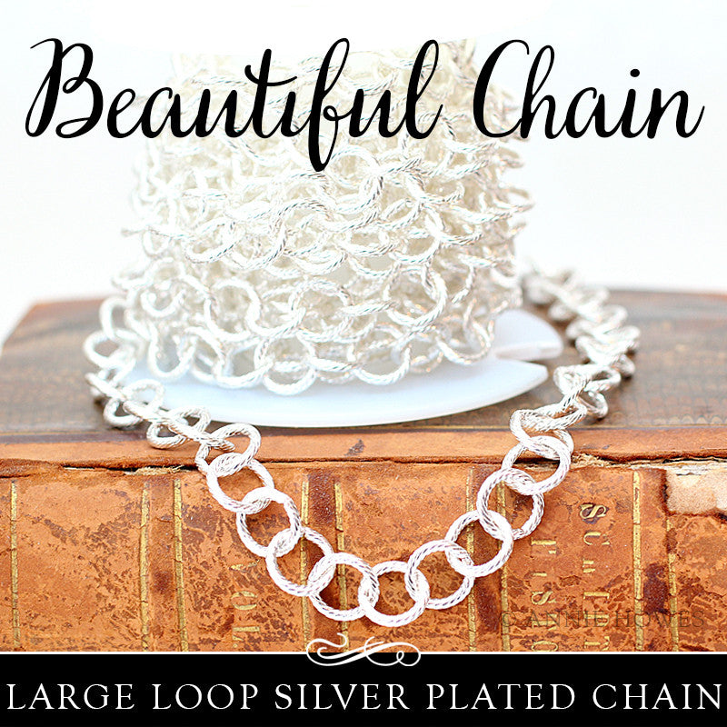 Cable Link Chain 8mm Links Silver Plated. Sold by the foot - Nunn Design