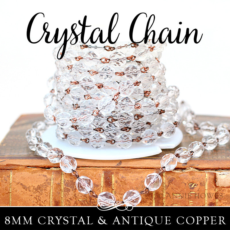 Crystal Chain with 8mm Clear Crystals. Sold by the foot Nunn Design