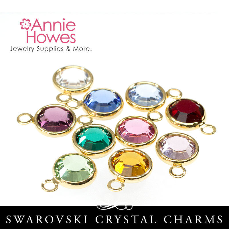 Swarovski Crystal Birthstone Charms - Gold Plated - Single Loop