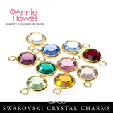 Swarovski Crystal Birthstone Charms - Gold Plated - Birthstone Pack Single Loop