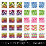 "Colorful Chevron Pattern 1"" Square Scrapbook and Pendant Digital Download Sheet."