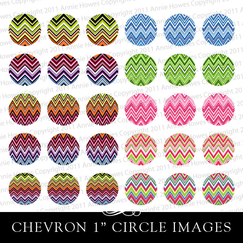 "Instant Download Colorful Chevron Pattern 1"" Circle Bottle Cap and Pendant Digital Download Sheet."